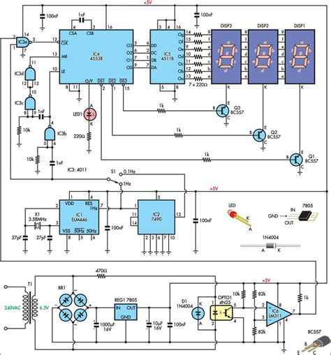electronic diagrams and schematics mains frequency monitor circuit and explanation