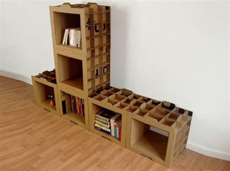 kreasi membuat cover buku modular shelving system made from recycled cardboard