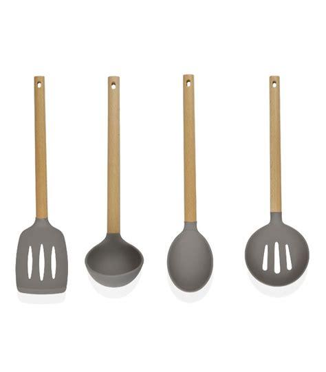 ustensile de cuisine en bois set de 4 ustensiles de cuisine en bois et silicone gris 224