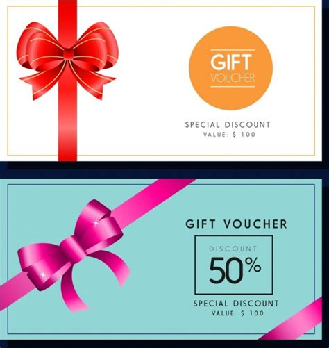gift voucher templates colored ribbon decoration free