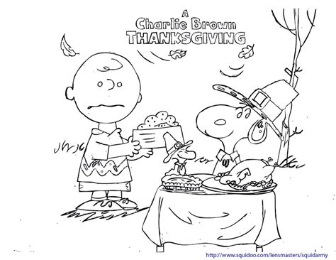 Printable Charlie Brown Thanksgiving Coloring Pages | charlie brown squid army