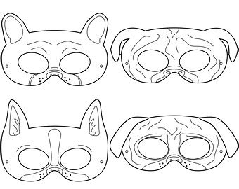 printable dog mask template printable pug mask printable 360 degree