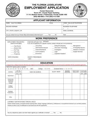 Bill Of Sale Form The Florida Legislature Employment Application Templates Fillable Employment Application Florida Template