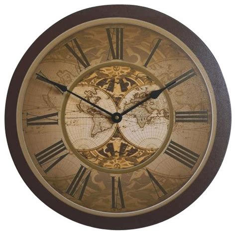 traditional wall clock old world map wall clock 18 quot traditional wall clocks