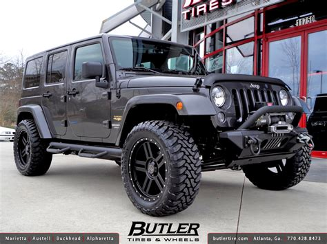 Jeep Wrangler With Black Rims Jeep Wrangler Unlimited With 20in Black Rhino Mojave Wheel