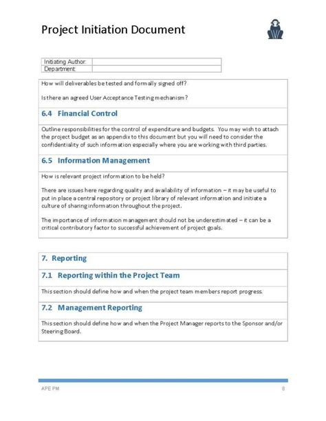 documentation template for project project initiation document template ape project management