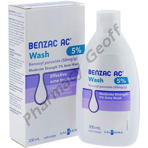 Ac Gel benzac ac wash benzoyl peroxide 50mg g 200ml bottle