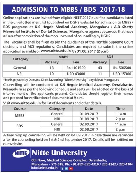 Bangalore Mba 2017 18 by Nitte Admission To Mbbs Bds 2017 18 Ad Advert
