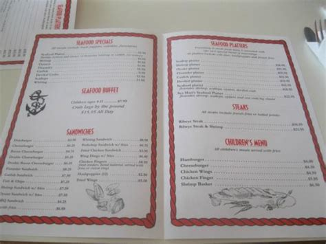 inside of menu picture of sea man s seafood and country