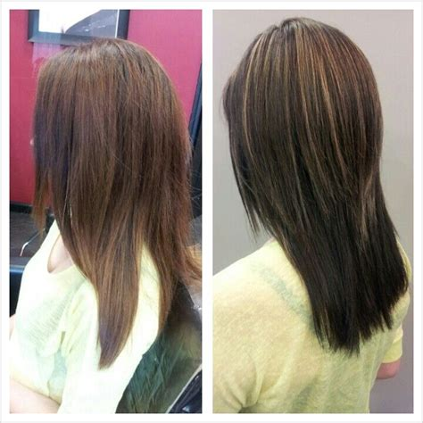 partial red highlights on dark brown hair darkest brown hair color with partial blonde highlight