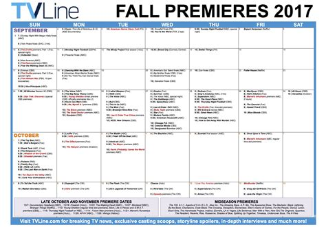 tv list for the 20162017 fall schedule on all networks fall tv premiere dates 2017 schedule of season series