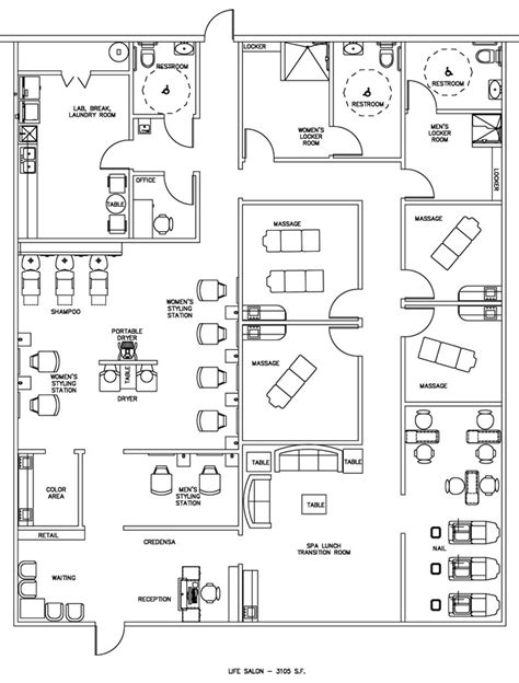 floor plans for salons salon spa floor plan design layout 3105 square foot