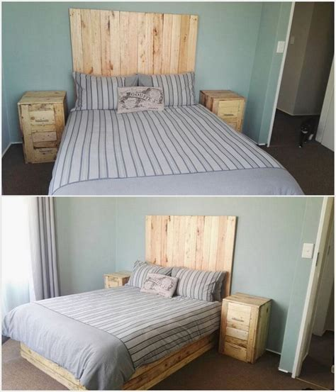 headboard with side tables excellent ideas with used wood pallets pallet wood projects