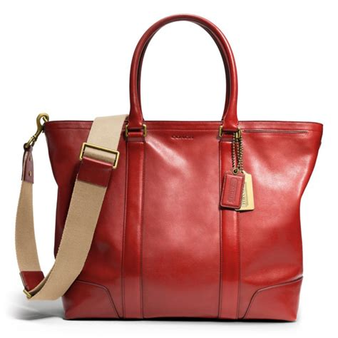 The Coach Bleecker Tattersall Shopping Bag by Lyst Coach Bleecker Legacy Business Tote In Leather In