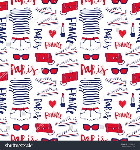 pattern french word seamless pattern with paris clothes use for wallpaper