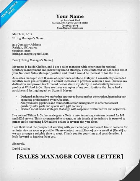 Sles Of Cover Letters For Resumes by Sales Manager Cover Letter Sle Resume Companion