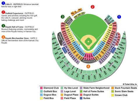 kauffman stadium seating chart  rows  seat numbers