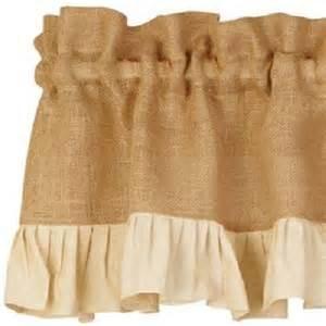 Cream Burlap Curtains Country Primitive Cream Ruffled Burlap Valance Rustic