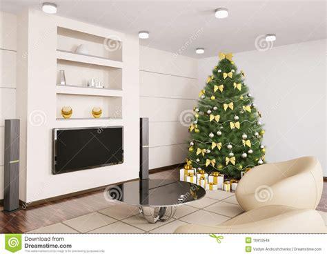 albero di natale in salone 3d interno fotografie stock