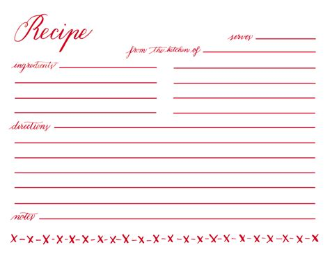 Printable Recipe Card Template by 12 Best Images Of Printable Recipe Cards With Lines Free