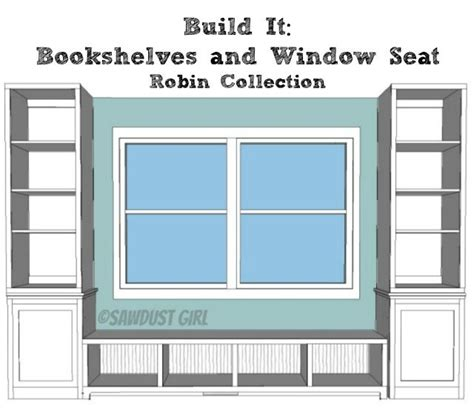 Bookshelf Seat Built In Window Seat And Storage Cabinets Free Plans