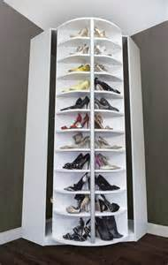 interior large corner rotating shoe rack design idea for