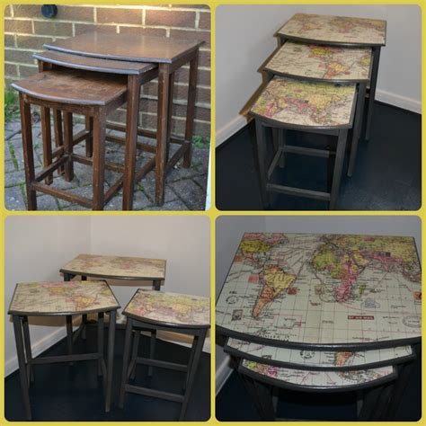 Decoupage Furniture With Maps - nest of three tables painted with ascp graphite