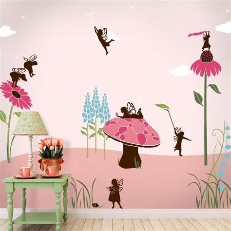 fairy wall mural stencil kit girls room or baby nursery