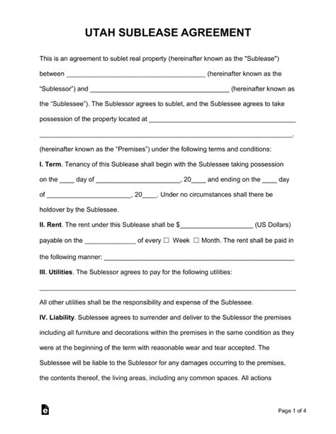 Free Utah Sublease Agreement Form Pdf Word Eforms Free Fillable Forms Rental Agreement Template Utah
