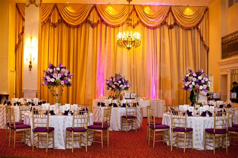 purple and gold wedding decor