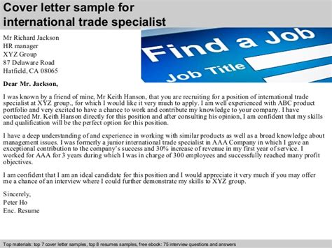 trade cover letter international trade specialist cover letter