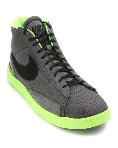 neon sneakers nike nike lunar blazer grey sneakers with neon yellow sole