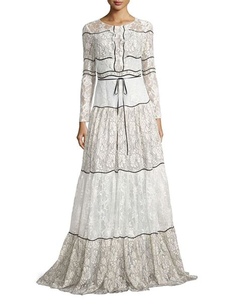 Tie Waist Panel Lace Evening Gown sachin babi sleeve paneled lace gown in white
