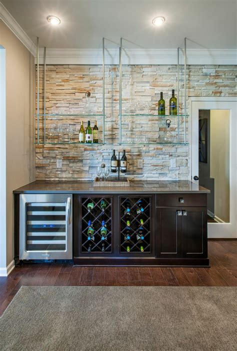 bar shelves for home create a dynamic home bar with floating glass shelves that contrast the light accent wall