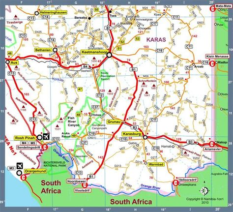 printable road map of namibia map of namibia africa road map i version 2010
