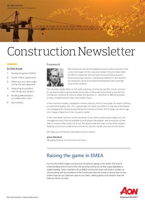 Construction Newsletter Aon Construction Newsletter V3
