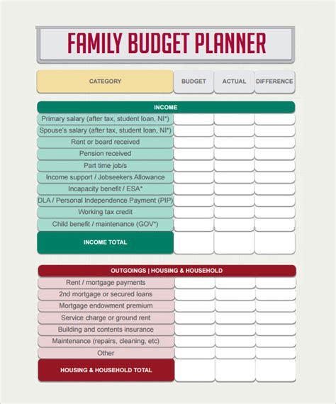 budget planner template uk printable planner template