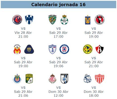 Calendario Liga Mx Jornada 16 2016 Trasmision De Partidos De La Jornada 16 Futbol