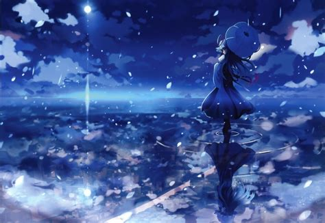 anime girl blue wallpaper water blue night umbrellas skyscapes reflections anime