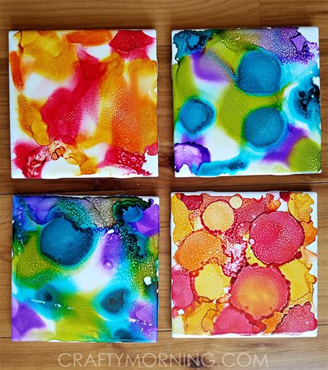 painting on ceramic tile craft alcohol ink tile coasters craft crafty morning