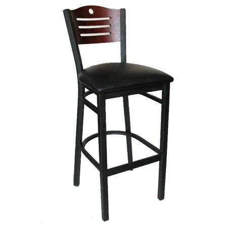 metal frame bar stools black metal frame bar stool with mahogany wood back and