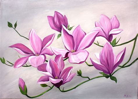 Paintings Of Flowers In Acrylic Acrylic Flower Painting
