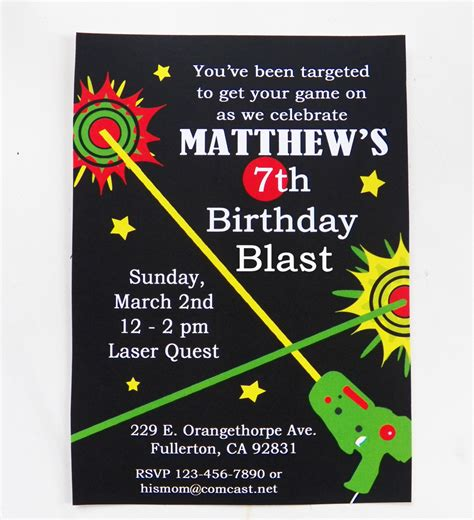 free printable birthday invitations laser tag laser tag birthday invitation printable and printed with free