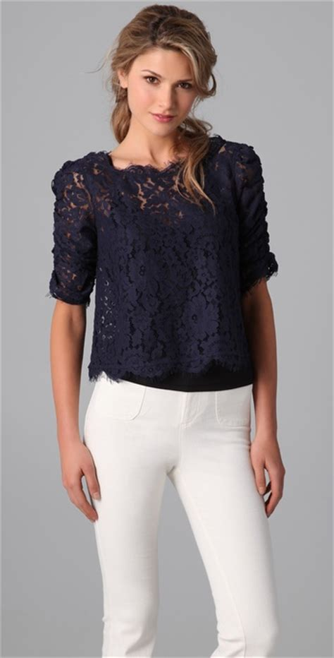 Blue Lace Edges S M L Blouse 45003 lyst joie lace top in blue