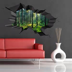 3d Wall Art Stickers Full Colour Woods Forest Trees Jungle Cracked 3d Wall Art