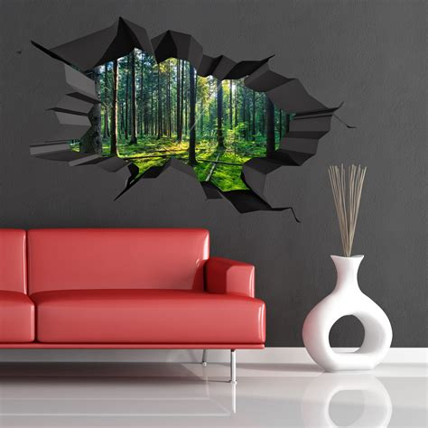 full wall stickers for bedrooms full colour woods forest trees jungle cracked 3d wall art