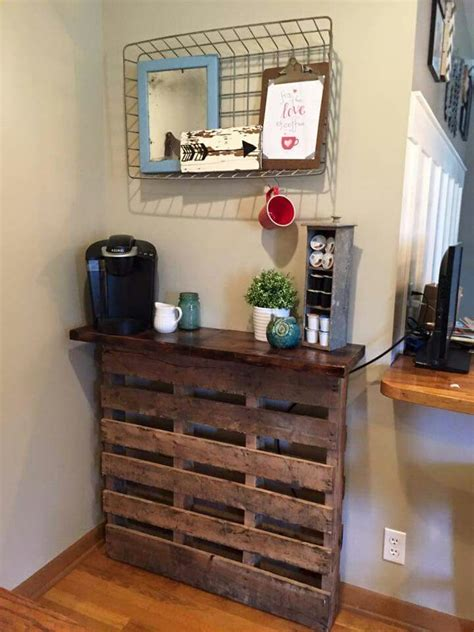 pallet coffee bar  diy list   coffee bar