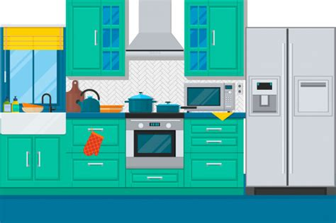 Modern Kitchen Interior With Furniture And Cooking Devices Flat Vector Illustration Vector Kitchen Appliances Templates