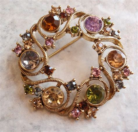 pin by carolynn redwine geer on rooms i love pinterest monet circle brooch multi color rhinestones vintage estate