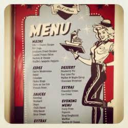 menu american diner theme 50s style party ideas pinterest